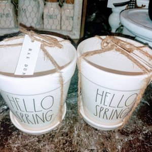 Rae Dunn Large Letter Hello Spring Pair of Pots